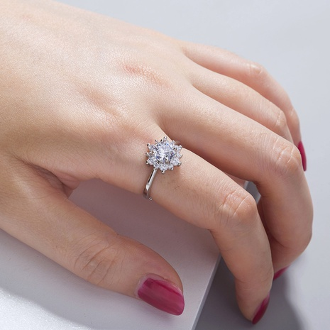 sunflower micro-inlaid zircon simple ring wholesale jewelry Nihaojewelry NHDB398438's discount tags