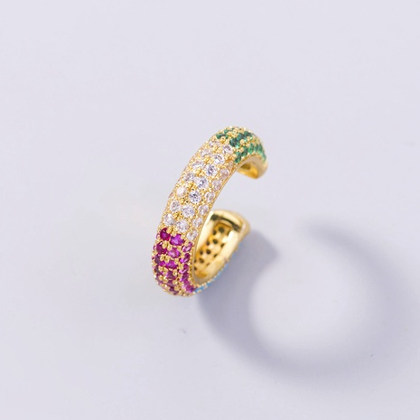 wholesale jewelry C-shaped copper inlaid color zircon ear clip nihaojewelry  NHDB398441's discount tags