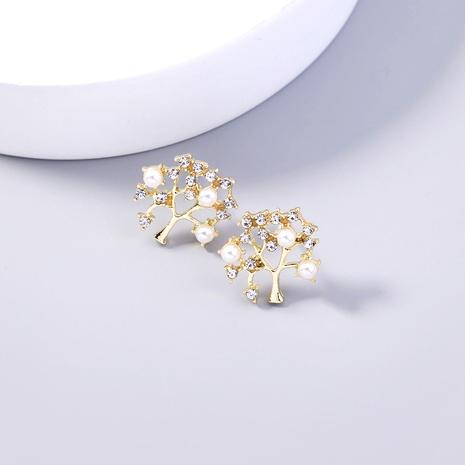 simple fashion diamond-studded pearl tree copper earrings wholesale nihaojewelry NHDB398447's discount tags