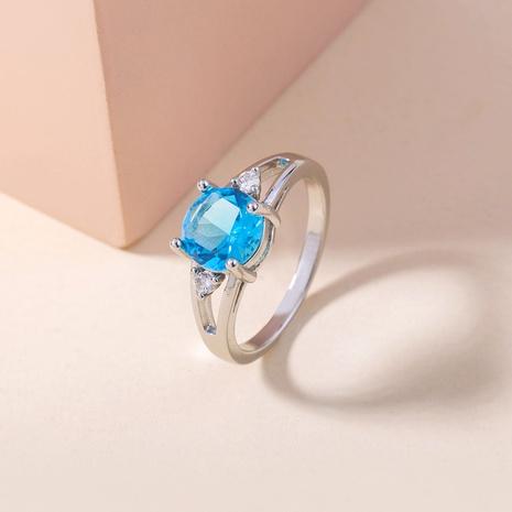 blue gemstone micro-inlaid zircon ring wholesale jewelry Nihaojewelry NHDB398452's discount tags