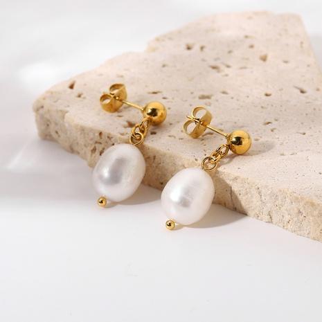 wholesale simple stainless steel pearl pendant earrings Nihaojewelry NHJIE398493's discount tags