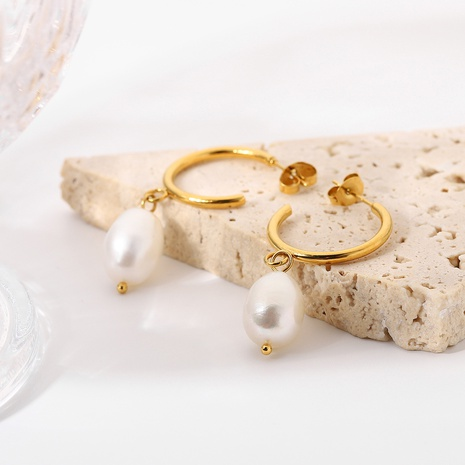 wholesale gold-plated stainless steel C-shaped pearl earrings Nihaojewelry NHJIE398494's discount tags