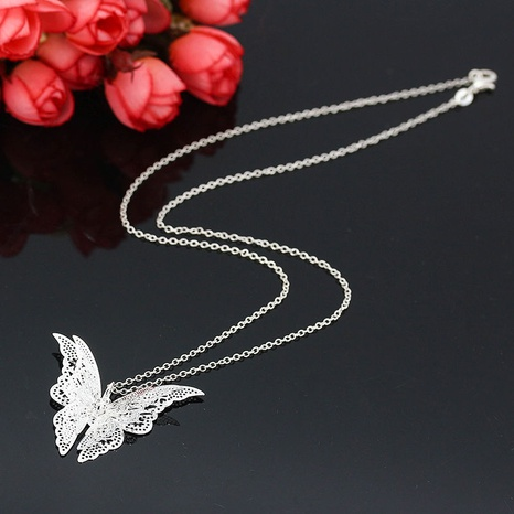 wholesale hollow pointed butterfly copper necklace Nihaojewelry NHPV398527's discount tags