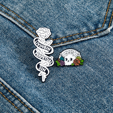 wholesale jewelry cartoon rose skull stainless steel brooch set nihaojewelry  NHPV398558's discount tags