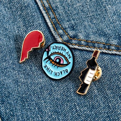 wholesale jewelry beer eyes broken heart stainless steel brooch set nihaojewelry  NHPV398559's discount tags