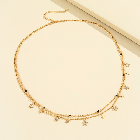 wholesale fashion five-pointed star full diamonds double-layer waist chain Nihaojewelry NHPV398567's discount tags