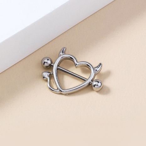 wholesale jewelry horns monster heart-shaped stainless steel breast ring nihaojewelry  NHDB398665's discount tags