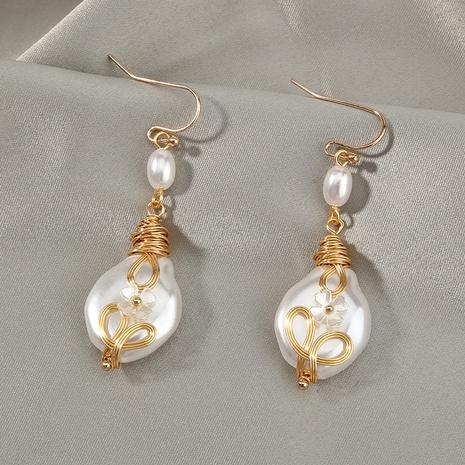wholesale baroque pearl petal copper earrings Nihaojewelry NHDB398676's discount tags