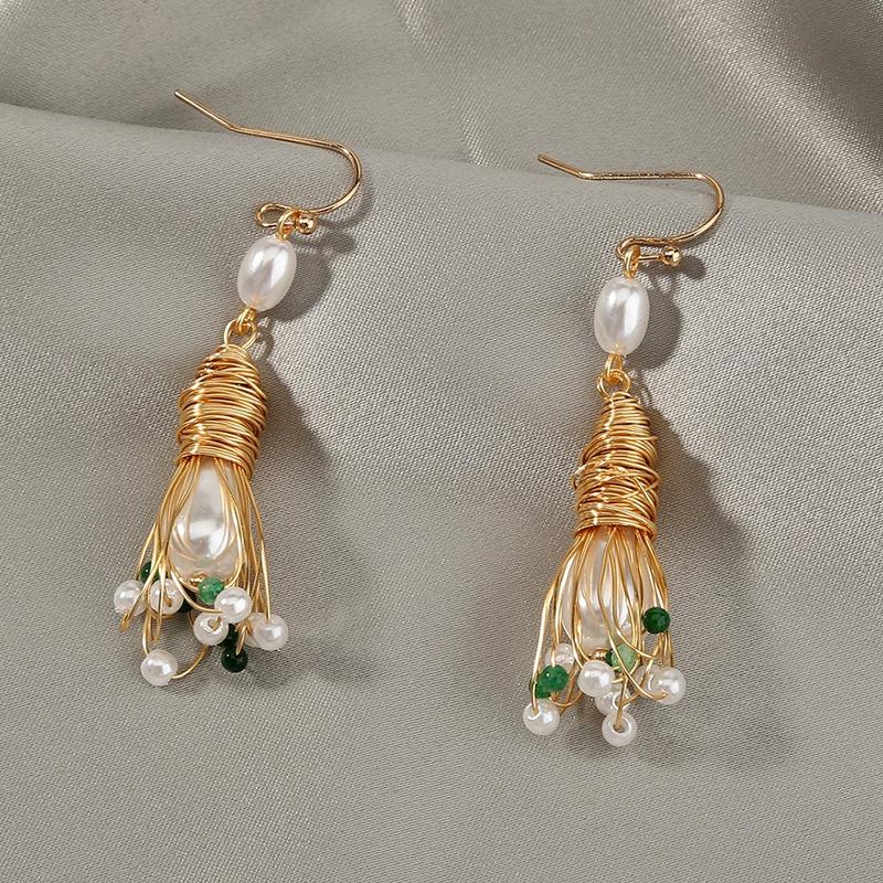 wholesale simple pearl flowers earrings Nihaojewelry NHDB398678