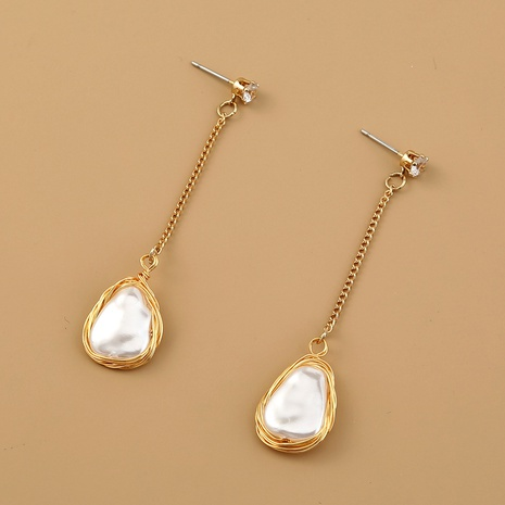 wholesale retro pearl long gold plated copper earrings Nihaojewelry NHDB398681's discount tags