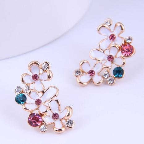 wholesale Korean fashion colorful diamond flower stud earrings Nihaojewelry  NHSC400651's discount tags