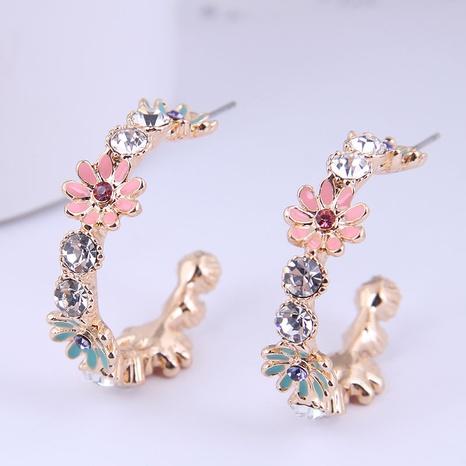 wholesale Korean fashion metal chrysanthemum flash diamond earrings Nihaojewelry  NHSC400650's discount tags