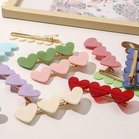 Korean girl heart acrylic hairpin simple love duckbill clip side clip bangs clip NHQIY398908's discount tags