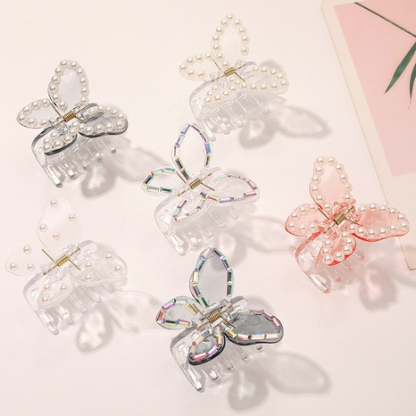 Transparent butterfly hair clip pearl rhinestone hair scratching back head plate hairpin NHQIY398916's discount tags