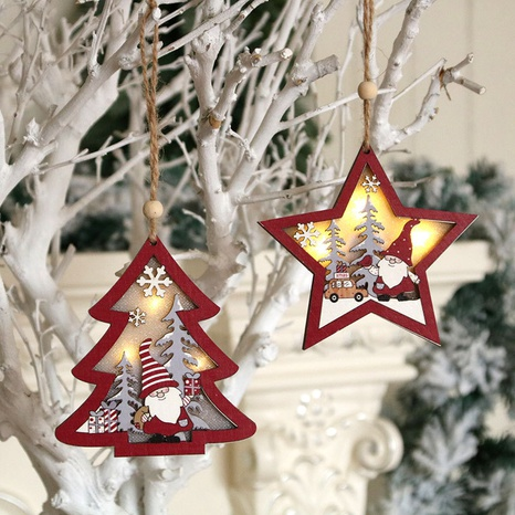 Wholesale New Christmas Tree Wooden Luminous Pendant Ornaments Nihaojewelry  NHMV399454's discount tags