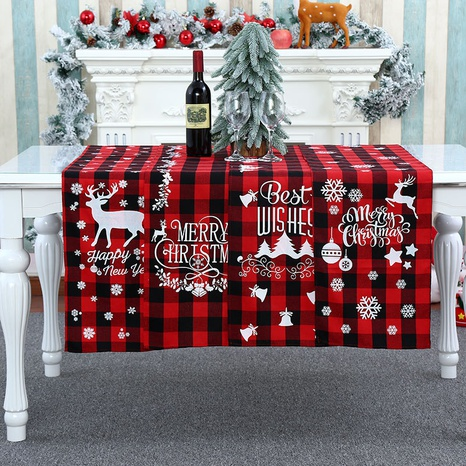 wholesale Christmas decorations polyester-cotton plaid table runner Nihaojewelry  NHMV399458's discount tags