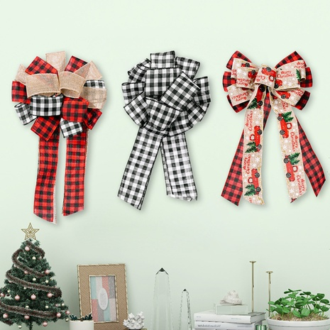 wholesale new lattice ribbon bow Christmas tree top decoration Nihaojewelry  NHHB399460's discount tags