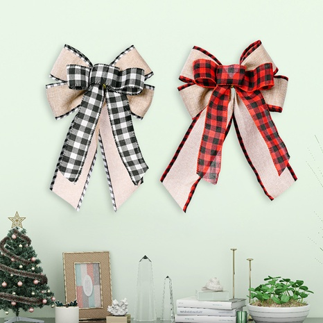 wholesale lattice side stitching ribbon bow Christmas tree top decoration Nihaojewelry  NHHB399459's discount tags
