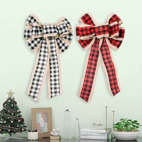 wholesale  lattice three-color ribbon bow Christmas decoration Nihaojewelry NHHB399461's discount tags