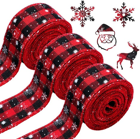 wholesale Christmas red and black plaid printed snowflake ribbon Nihaojewelry NHHB399463's discount tags