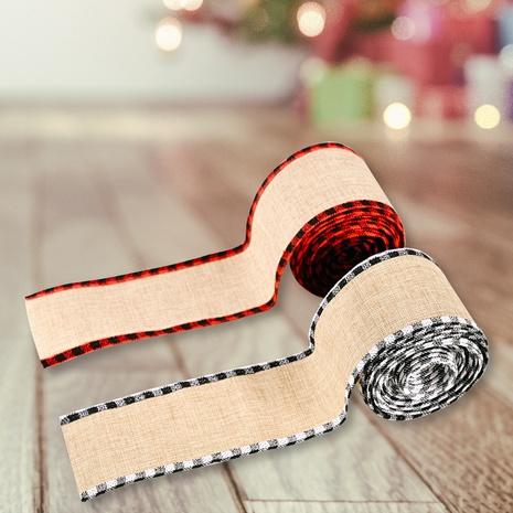 wholesale Christmas imitation linen plaid cloth edging ribbon Nihaojewelry NHHB399465's discount tags