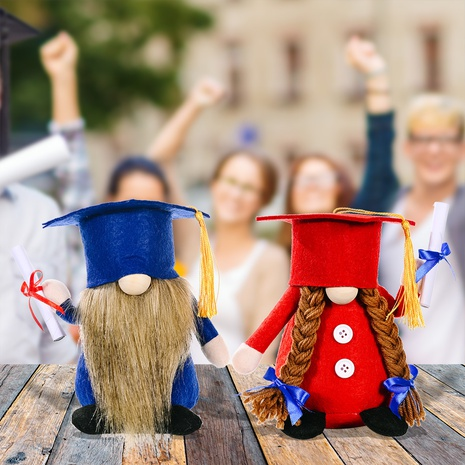 wholesale new blue red graduation bachelor hat faceless Rudolph doll Nihaojewelry  NHHB399469's discount tags