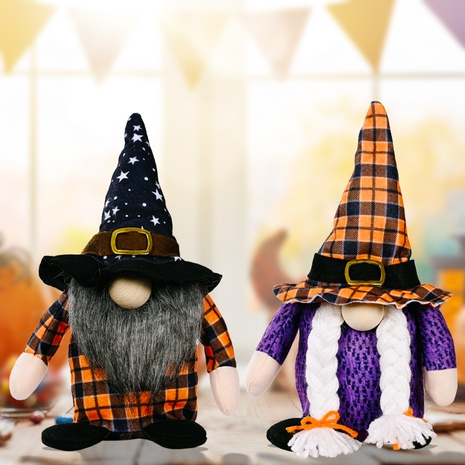 Wholesale New Orange Plaid Halloween Rudolph Doll Festival Decoration Nihaojewelry  NHHB399478's discount tags