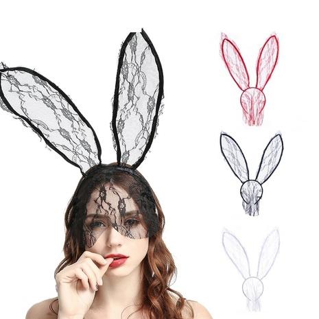 wholesale nueva diadema de velo de orejas de conejo de encaje creativo Nihaojewelry NHJAY398983's discount tags