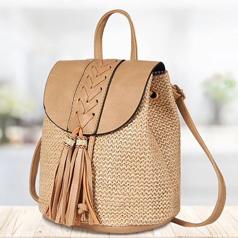 New straw woven tassel backpack wholesale Nihaojewelry  NHGO400512's discount tags