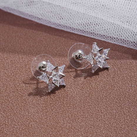 wholesale fashion zircon inlaid five-pointed star copper stud earrings Nihaojewelry  NHIK400496's discount tags
