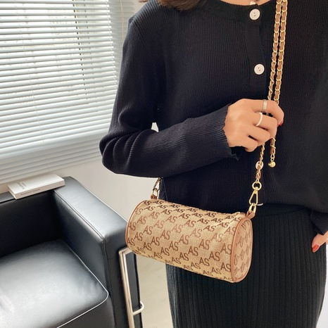 golden ball chain fashion one-shoulder messenger cylinder bag wholesale Nihaojewelry NHWH399674's discount tags