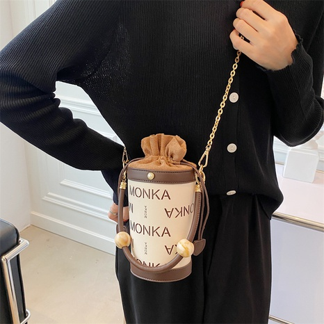 chain letter printing drawstring cylinder bag wholesale Nihaojewelry NHWH399678's discount tags