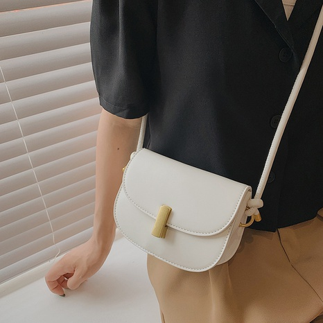 solid color lock fashion one-shoulder cross-body saddle bag wholesale Nihaojewelry NHWH399682's discount tags