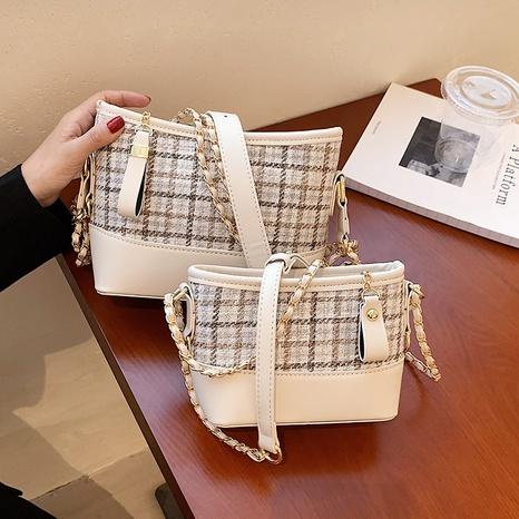 wholesale lattice pattern contrast color shoulder messenger bag nihaojewelry  NHGN399823's discount tags