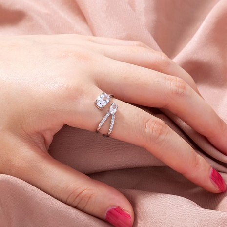 fashion chic micro-inlaid V-shaped oval zircon ring wholesale nihaojewelry NHDB399971's discount tags