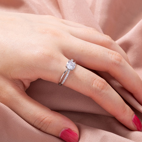 fashion simple zircon double ring wholesale nihaojewelry NHDB399972's discount tags