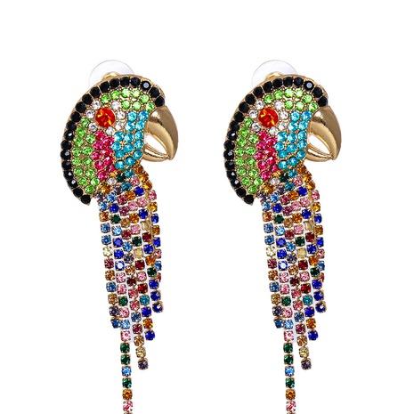 new vintage color diamond animal parrot tassel earrings wholesale nihaojewelry NHJJ400070's discount tags