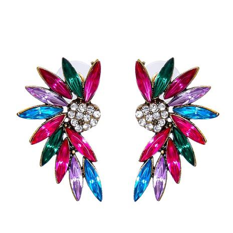diamond-studded geometric symmetry angel wings  stud earrings wholesale nihaojewelry NHJJ400068's discount tags