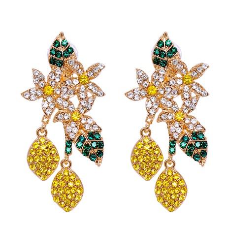 new fashion color diamonds lemon flower earrings wholesale nihaojewelry  NHJJ400069's discount tags