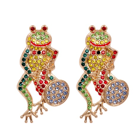 new retro cartoon frog color inlaid earrings wholesale nihaojewelry NHJJ400076's discount tags