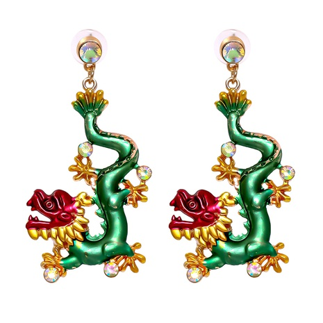 new retro color dragon inlaid earrings wholesale nihaojewelry NHJJ400075's discount tags