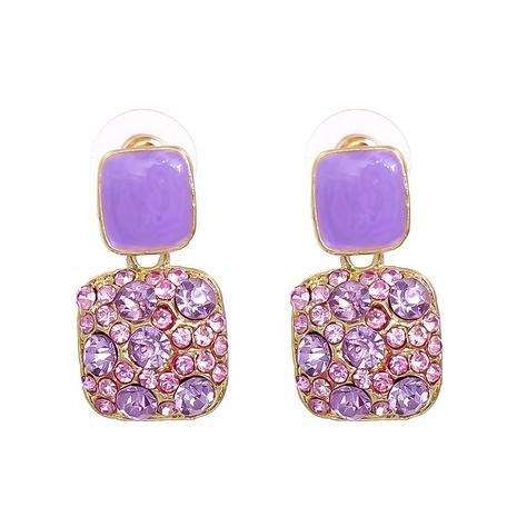new retro geometric color square diamond earrings wholesale nihaojewelry NHJJ400079's discount tags
