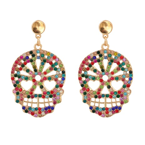 retro carved skull head diamond Halloween earrings wholesale nihaojewelry NHJJ400084's discount tags