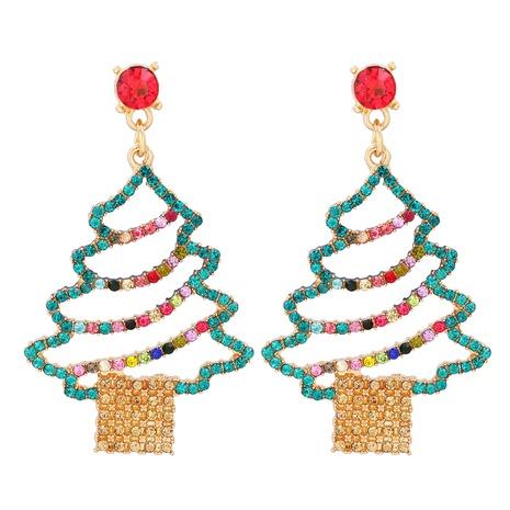 new fashion cartoon Christmas tree diamond earrings wholesale nihaojewelry NHJJ400086's discount tags