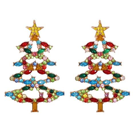 new fashion Christmas cartoon tree diamond earrings wholesale nihaojewelry NHJJ400083's discount tags