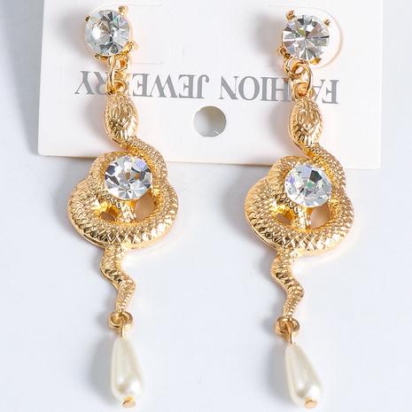 fashion simple snake diamond pearl earrings wholesale nihaojewelry NHJJ400096's discount tags