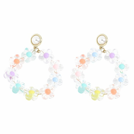 wholesale Korean candy color flower transparent resin earrings Nihaojewelry  NHJQ400103's discount tags