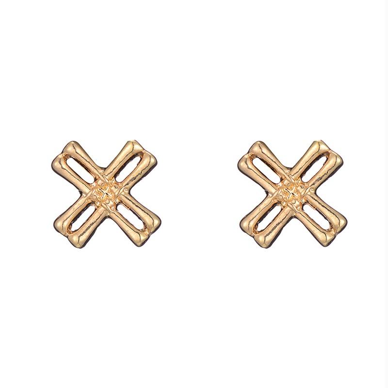 simple fashion geometric metal bamboo cross earrings wholesale nihaojewelry NHOA400453