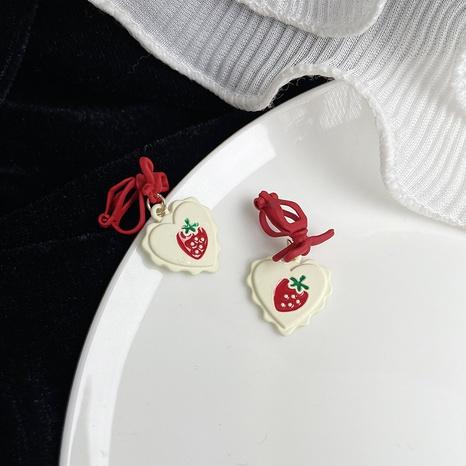 wholesale jewelry heart-shaped strawberry bowknot pendant earrings nihaojewelry  NHPF400463's discount tags