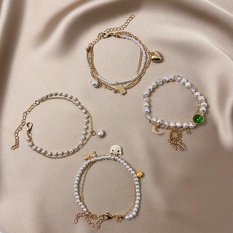 Vente en gros bijoux bracelet de perles coeur double couche rétro nihaojewelry NHPF400468's discount tags